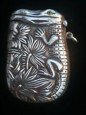 Great Vintage Sterling Silver Alligator Crocodile Match Safe Vesta Case Box