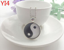 Silver Yin and yang Jewelry Necklace Glass Dome Pendant Necklace#YI4