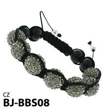 CLOSEOUT SALE Shamballa Bracelet Gray Crystal Fire Ball Beads Braided Bangle