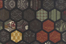 Traditional Hexagon Patchwork Design: BLACK ASIAN JAPANESE FABRIC (1/2 YD.)
