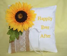 Happily Ever After Rustic Fall Sunflower Yellow Burlap White Ring Bearer Pillow