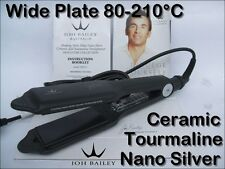 WIDE PLATE HAIR STRAIGHTENERS NANO SILVER TOURMALINE CERAMIC ADJUSTABLE 80-210°C