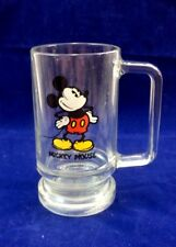 Vintage 1980's Mickey Mouse Glass Mug Walt Disney Productions