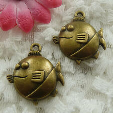 Free Ship 30 pieces bronze plated fish charms 24x21mm #738