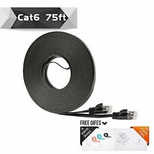 Cat 6 Ethernet Cable Black 75ft At a Cat5e Price but Higher Bandwidth Flat Cable