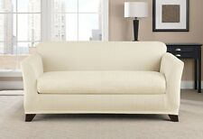 Cream ivory tusk chevron two piece Sofa sure fit slip cover surefit slipcover