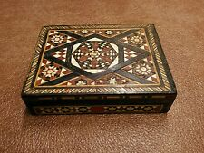 Antique Vintage Handcrafted wooden trinket box mosaic multiple wood shade design