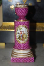 WONDERFUL OLD MEISSEN H P DRESDEN STYLE FIGURES PINK GOLD PORCELAIN CANDLESTICK