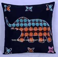 Vintage Embroidered Cushion Covers Elephant Patchwork Indian Cotton Pillow Cases
