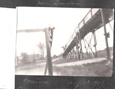 2 VINTAGE PHOTOGRAPHS 1913 POLAND SPRINGS MAINE HUGE OWL OLD WOODEN BRIDGE PHOTO