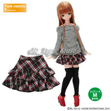 Azone Pureneemo Furifuri Tiered skirt Black x Red Plaid Blythe Pullip Momoko