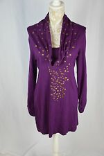 Alfani Womens Medium Purple Long Sleeve Gold Sequin Cowl Neck Short Dress Tunic