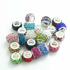 NEW  50pcs mix Rhinestone Bead fit European Charm Bracelet jewelry #6