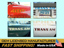 1973 1974 1975 Trans Am SD455 400 455HO Fender Spoiler Name Decals on Clear Kit