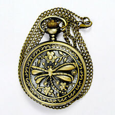 New Design Vintage Steampunk Retro Bronze Pocket Watch Quartz Pendant Necklace