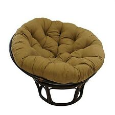 "International Caravan  Rattan 42"" Papasan Chair Micro Suede Cushion Saddle Brown"