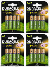 16 x Duracell AA Rechargeable Batteries - 1300 mAh PRE/ STAY CHARGE - HR6 4 Pack