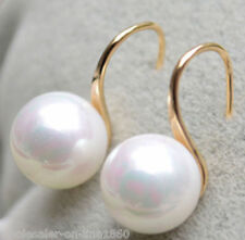 Big 12mm White Round South Sea Shell Pearl 14K Gold Plated Hook Dangle Earrings