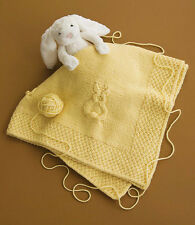 "Bunny Rabbit Baby Blanket Chunky Wool 40"" Square ~ Knitting Pattern"