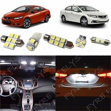 8x White LED lights interior package kit for 2013 & up Honda Civic HC2W