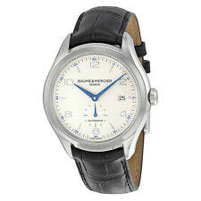 Baume And Mercier Clifton Silver Dial Leather Automatic Mens Watch MOA10052