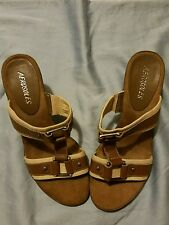 Aerosoles Khaki Canvas & Brown Leather Stretch T-Strap High Heels Sandals Shoes