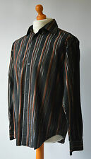 Men's Brown & Silver Striped YSL,Yves Saint Laurent Pour Homme Shirt Size M.