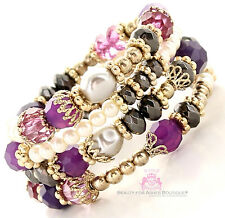 Womens Beaded Ornate Intricate Crystal Chunky Vintage Adjustable Coil Bracelet
