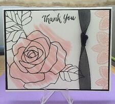 "Card Kit Set Of 4 Stampin Up Rose Wonder Watercolored ""Thank You"""