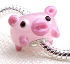 PINK PIGGY PIG STERLING SILVER EUROPEAN MURANO LAMPWORK GLASS BEAD CHARM