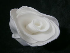 KLEINFELD WEDDING ROSE FLOWER WHITE SATIN PIN DECORATION GOWN HAIR ACCESSORY