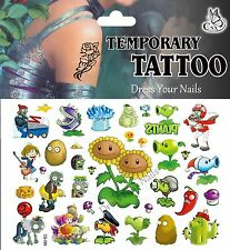 """Plants v Zombies"" Cartoon Temporary  Body Tattoo Peashooter Childrens"