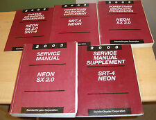 2003 Dodge Neon SX 2.0 SRT-4 Shop Service Manual + Supplement + Diagnostic 5 Bks