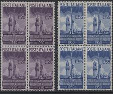 ITALIA - 1950 Radio Conference COPPIA in blocchi di 4 MNH (Sass. 623/624) (ref.b28)