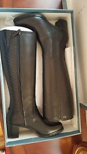 NIB Geox Womens Wliseabx15 Tall Snow Black LEATHER Boot Size 40/10 Waterpro $335