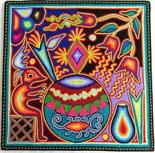 """12"""" Mexican Huichol Gourd Bowl and Flowe of Wind yarn painting 30 - 002 G"""