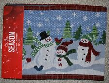 """TAPESTRY CHRISTMAS SNOWMAN TABLE RUNNER/ HOLIDAY/BLUES/WHITE/MULTI 13""""X70"""" NWT"""