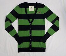 NWT Hollister Womens Cardigan Size Small Sweater Striped Top Shirt Green & Navy