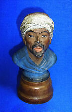 Antique German Metal Head / Bust Man on Wood Base #AO