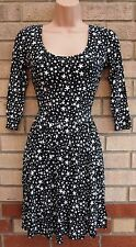 THERAPY BLACK WHITE STAR PRINT FLIPPY A LINE SKATER RETRO FUNKY TEA DRESS 10 S