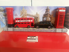 LONDON BUS BLACK TAXI,PHONE & POST BOX SET, METAL SOUVENIR  GIFT