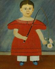 AMERICAN SCHOOL, 19TH CENTURY | Boy in Red Dress Holding a Crop and Flowers