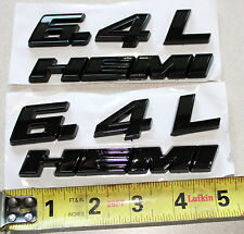 2 BLACK DODGE HEMI 6.4L ABS BADGE EMBLEMS MOPAR USA SELLER! CHALLENGER, CHARGER