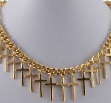 GOLD TONE CHUNKY CHAIN  NECKLACE WITH DROP CROSS CHARMS