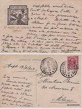 # NAPOLI: 1913 - GRAND HOTEL DE LONDRES- CART. CON LOGO  inviata a Milano