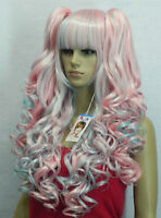 K424 Lolita New multi-colored long Curly Cosplay Wavy Wig With Two Ponytails