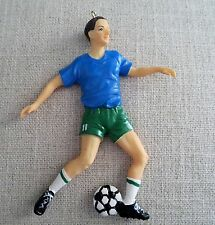 Soccer Player Christmas Ornament with Ball  Male Figure Green Shorts   New