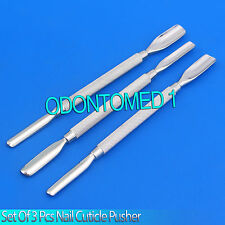 New Set 3 Pcs Nail Cuticle Pusher 1 Manicure Pedicure Stainless Steel Instrument