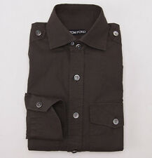 NWT $650 TOM FORD Dark Olive Military-Detailed Twill Cotton Shirt M (Eu 40)