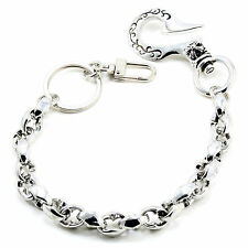 "Simple Classic Symbol EMO Biker Trucker Key Jean Wallet Chain CS105 (14"") Silver"